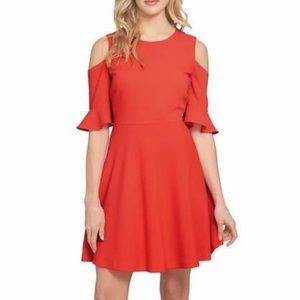 NEW CECE Cynthia Steffe Cold Shoulder Coral Dress